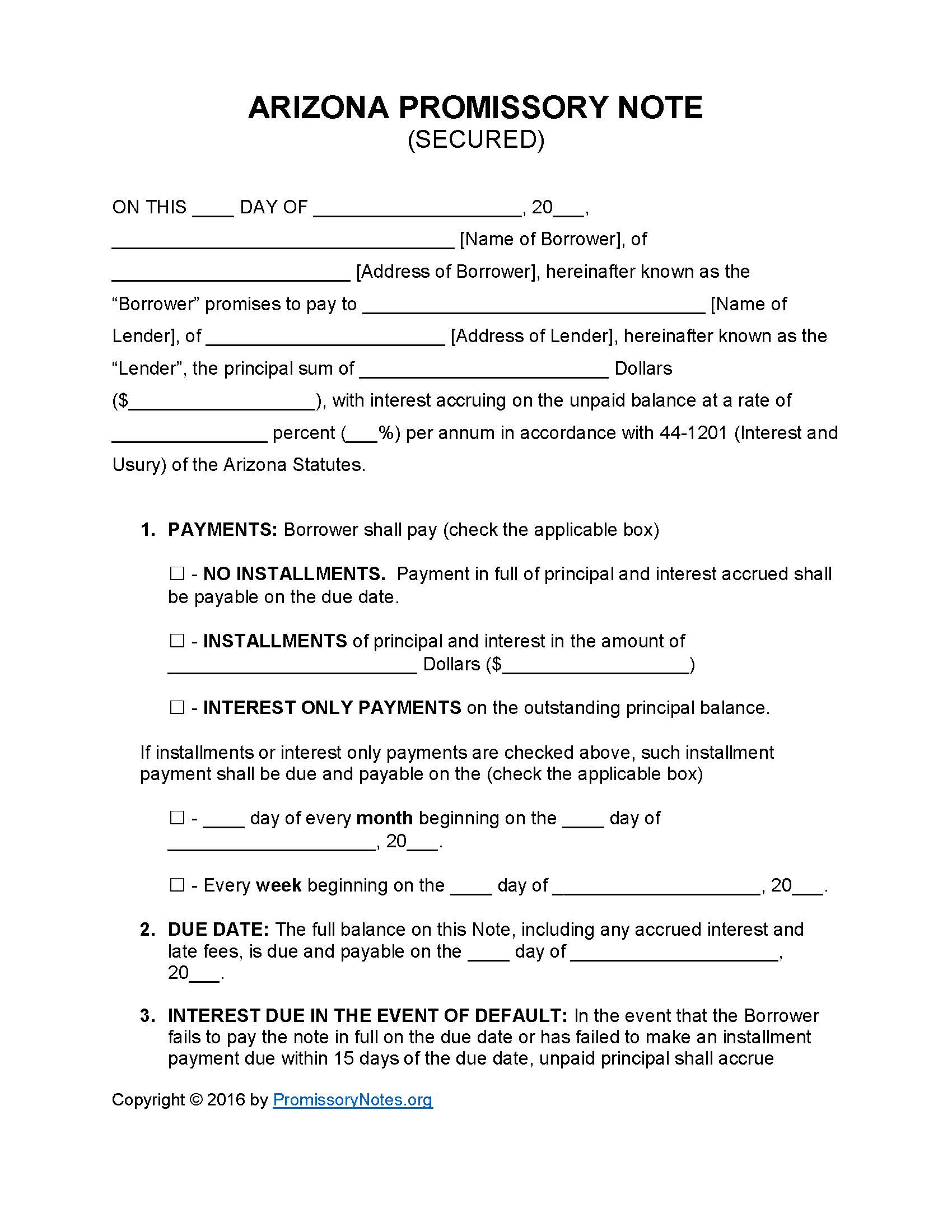 Arizona Secured Promissory Note Template Promissory Notes - Promissory note with interest template