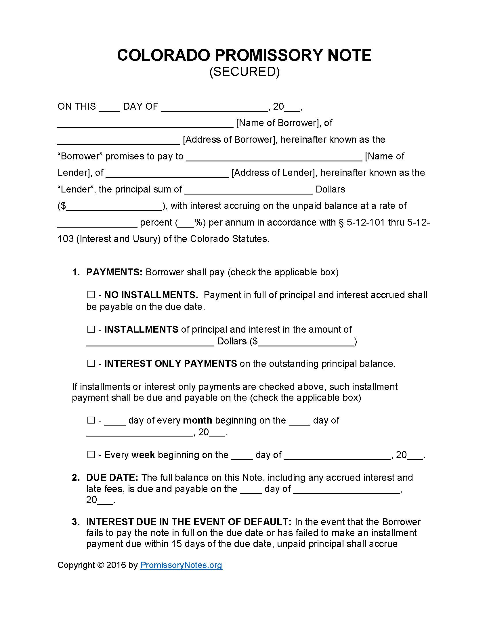 Colorado Secured Promissory Note Template   Promissory Notes : Promissory  Notes  Promissory Note Blank Form