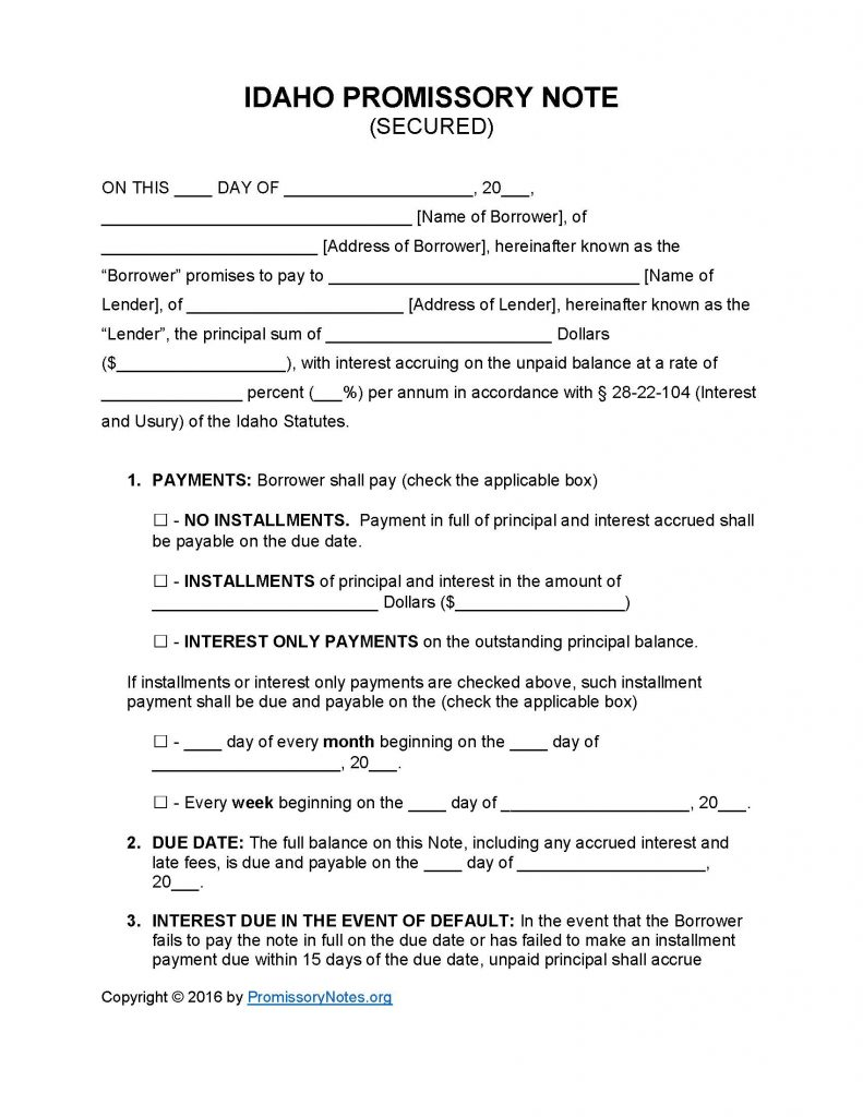 Idaho Secured Promissory Note - Adobe PDF - Microsoft Word