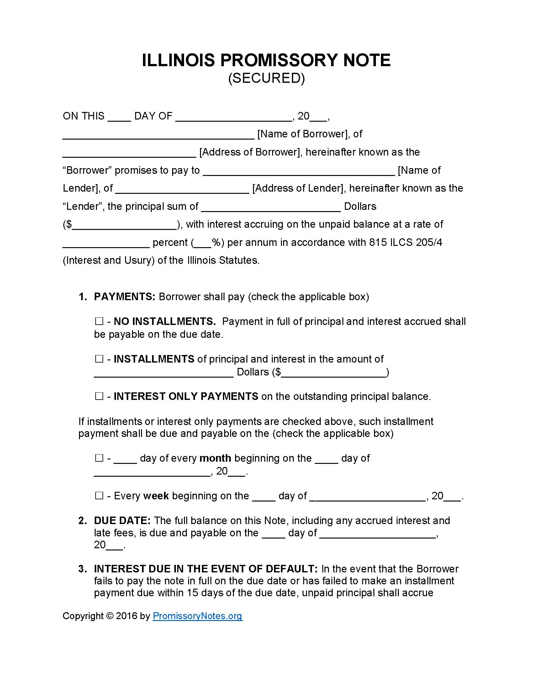 Illinois Secured Promissory Note Template Promissory Notes - Promissory note no interest template