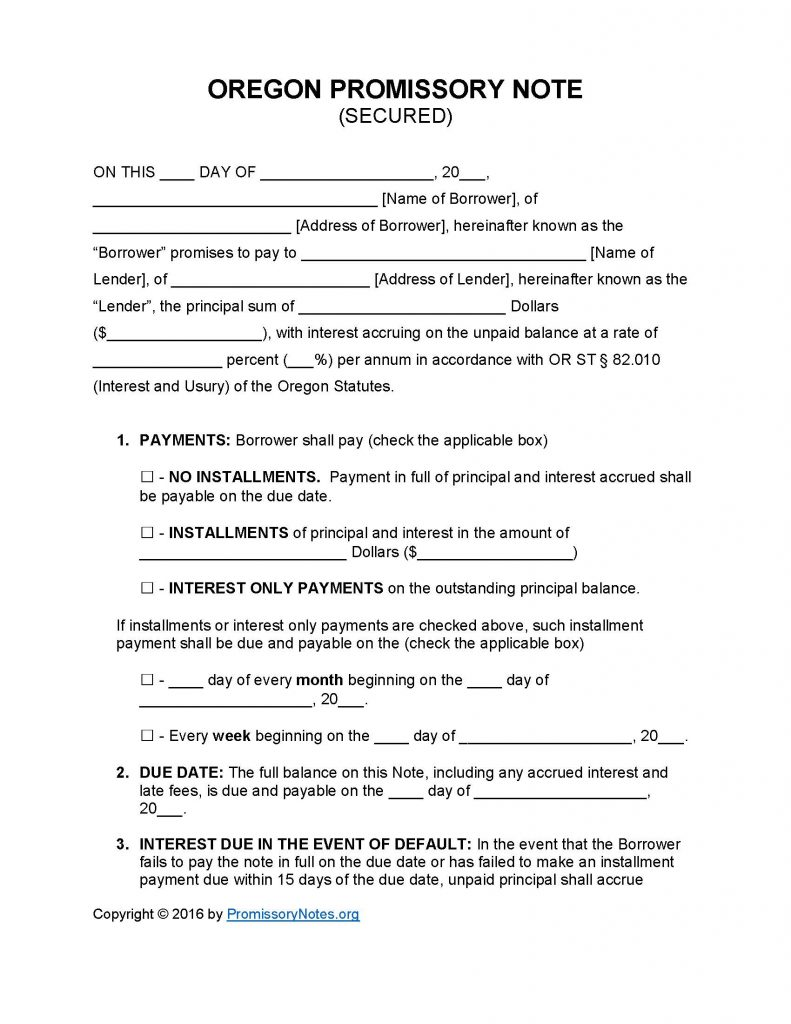 Oregon Secured Promissory Note Template - Promissory Notes ...