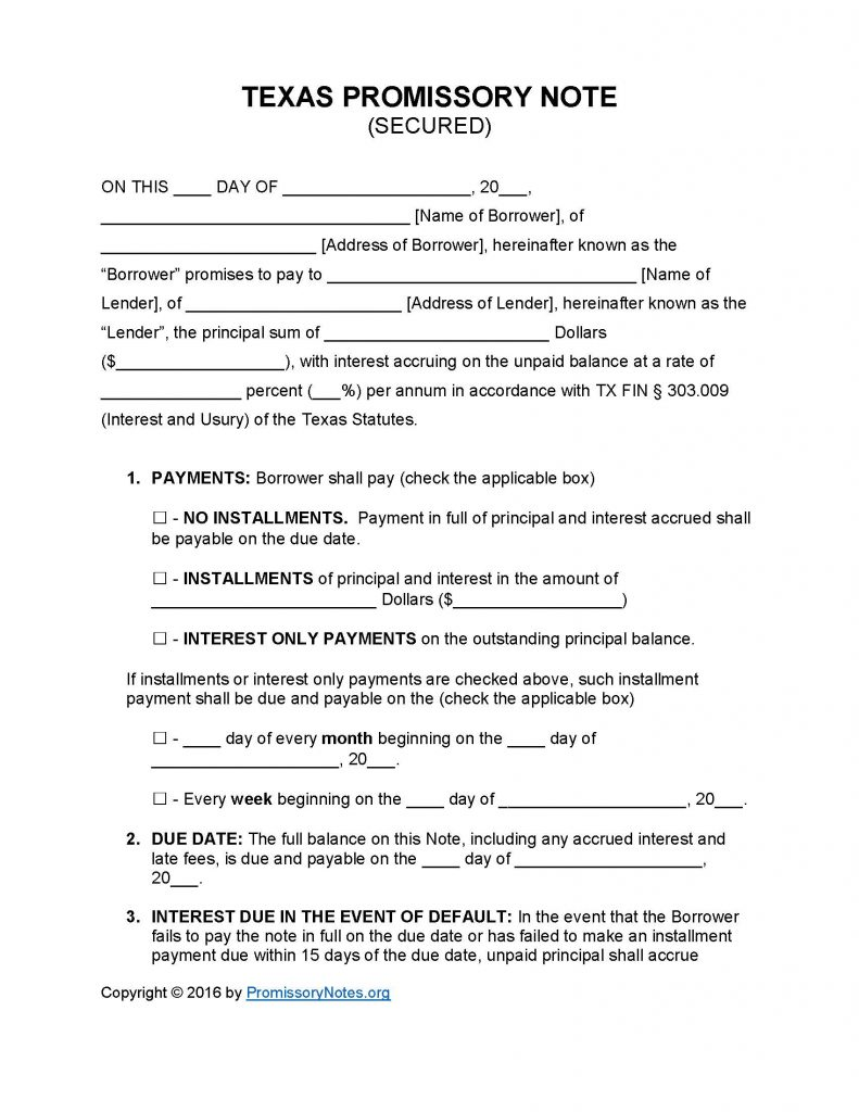 Texas Secured Promissory Note Template Promissory Notes