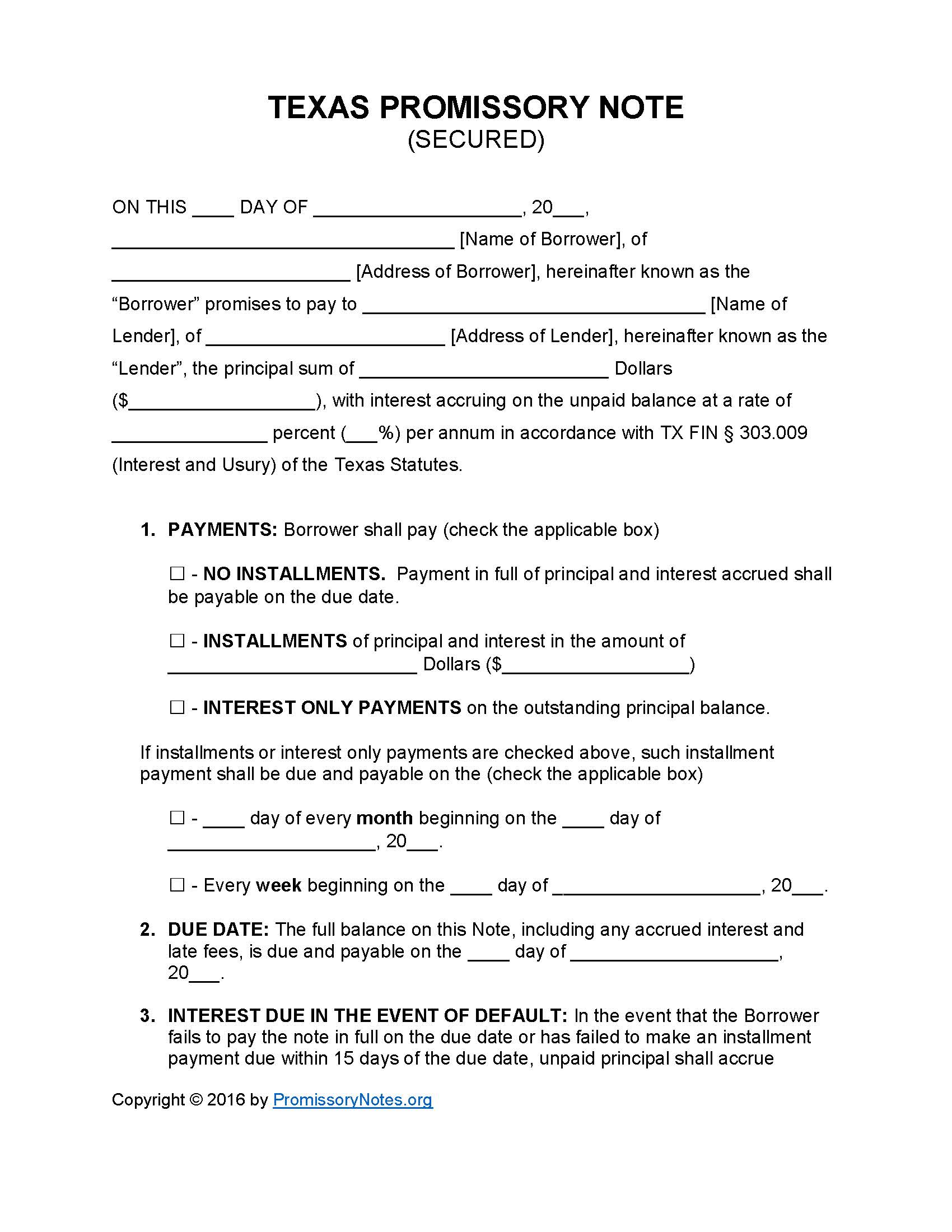 Texas Secured Promissory Note Template   Promissory Notes : Promissory Notes  Promisory Note Sample