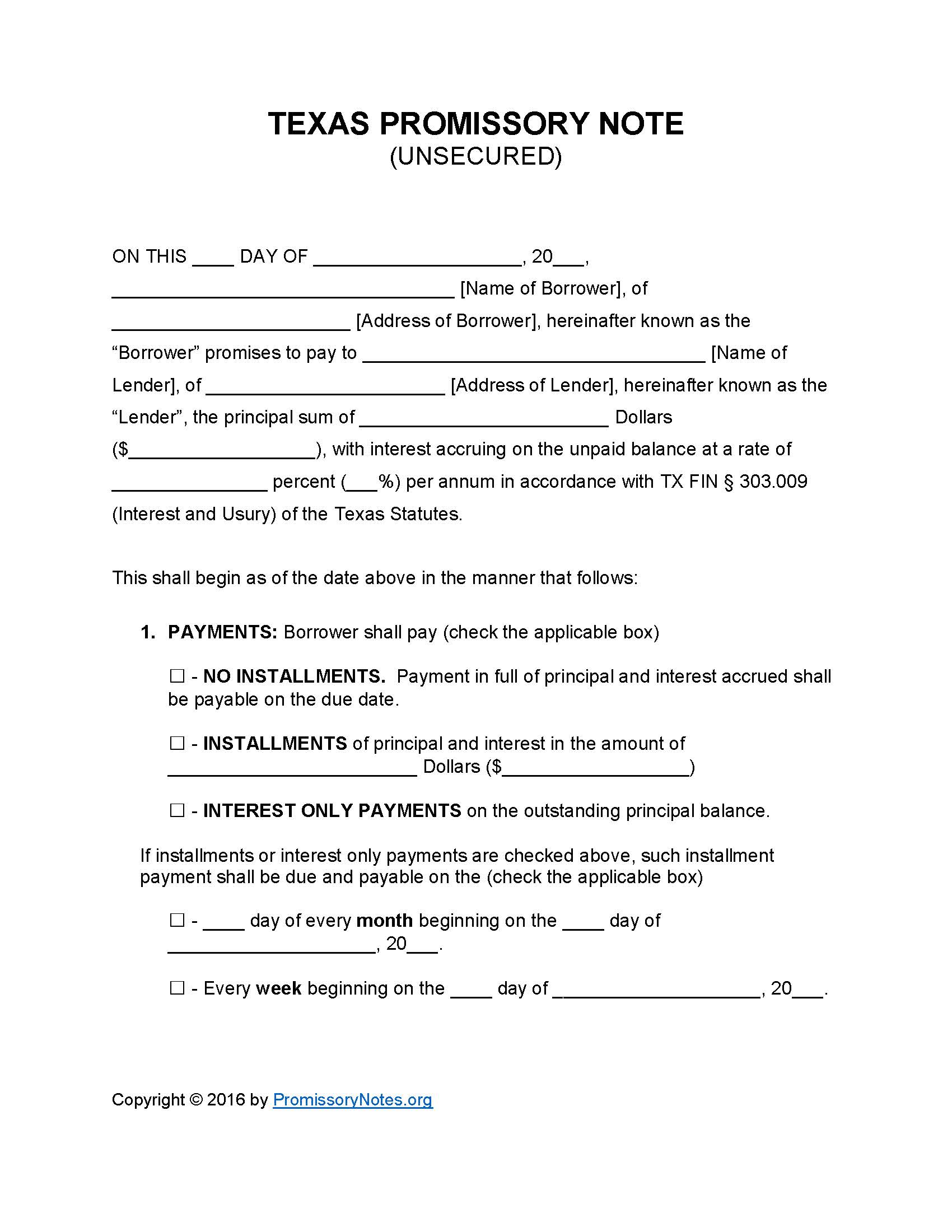 Texas Unsecured Promissory Note Template   Promissory Notes : Promissory  Notes  Draft Of Promissory Note