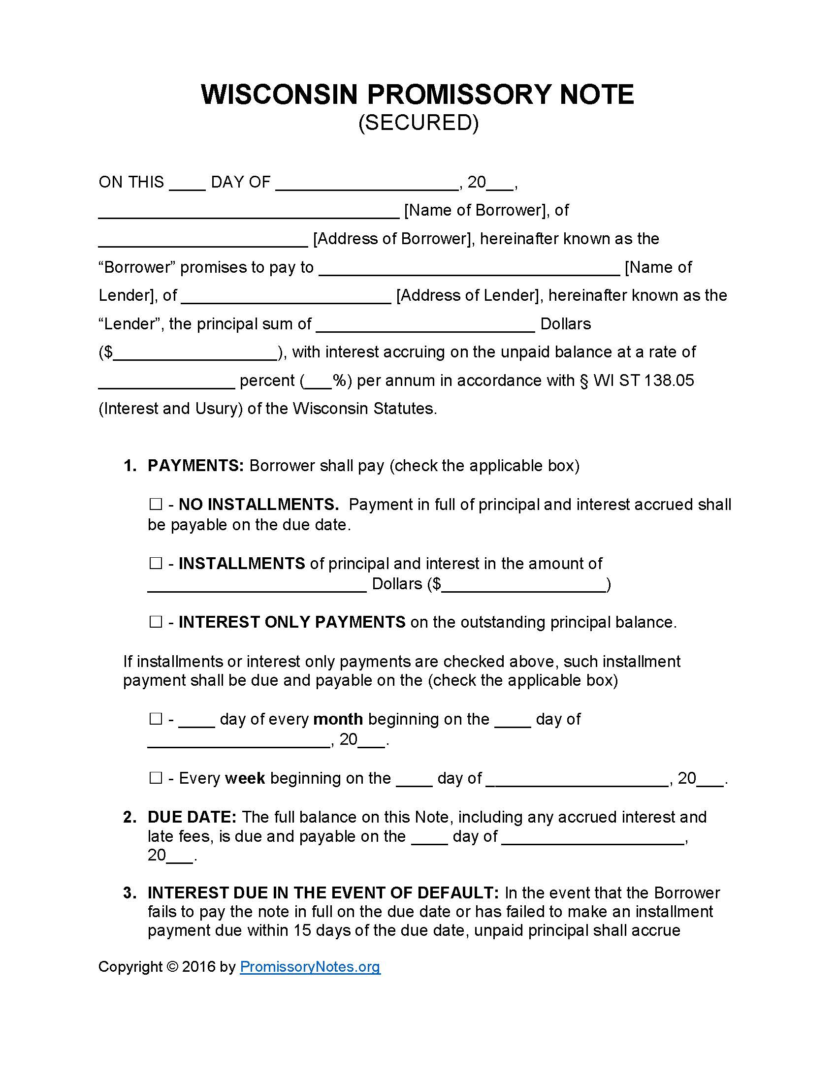 Wisconsin Secured Promissory Note Template Promissory