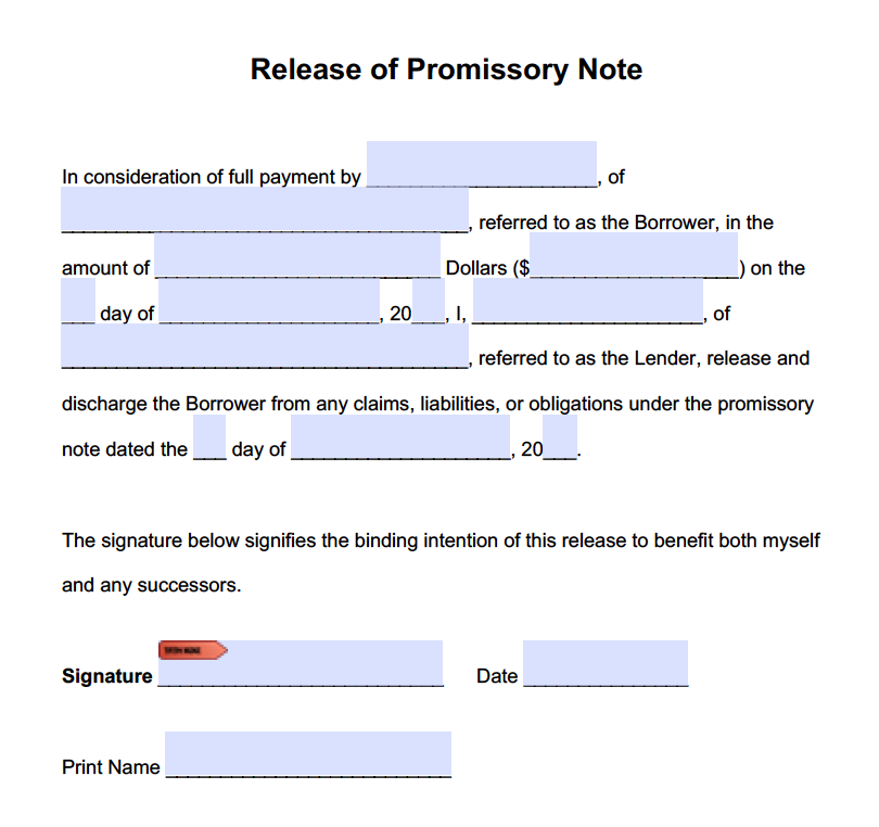 Promissory Note Release Form - Adobe PDF - Microsoft Word