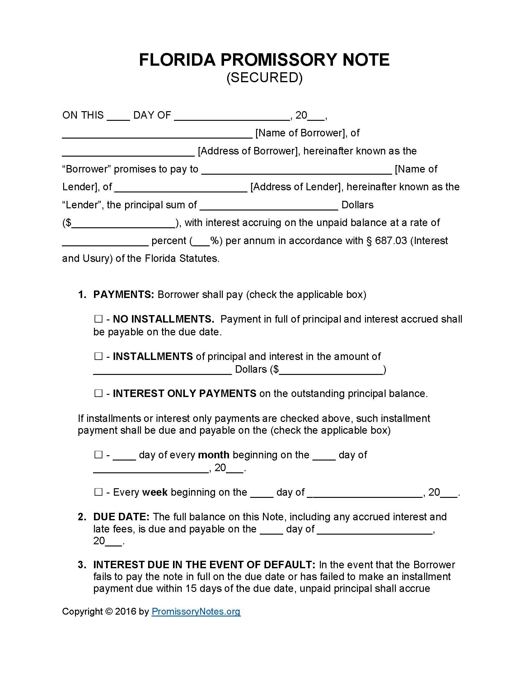 florida secured promissory note template