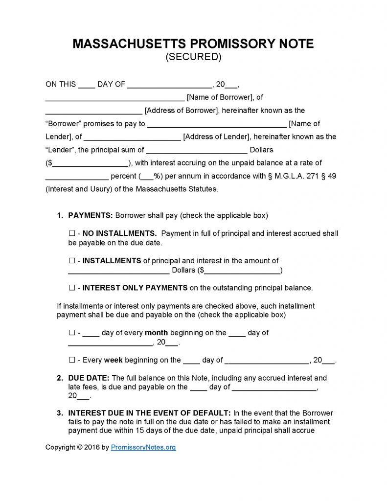 Massachusetts Secured Promissory Note Template Promissory Notes Promissory Notes
