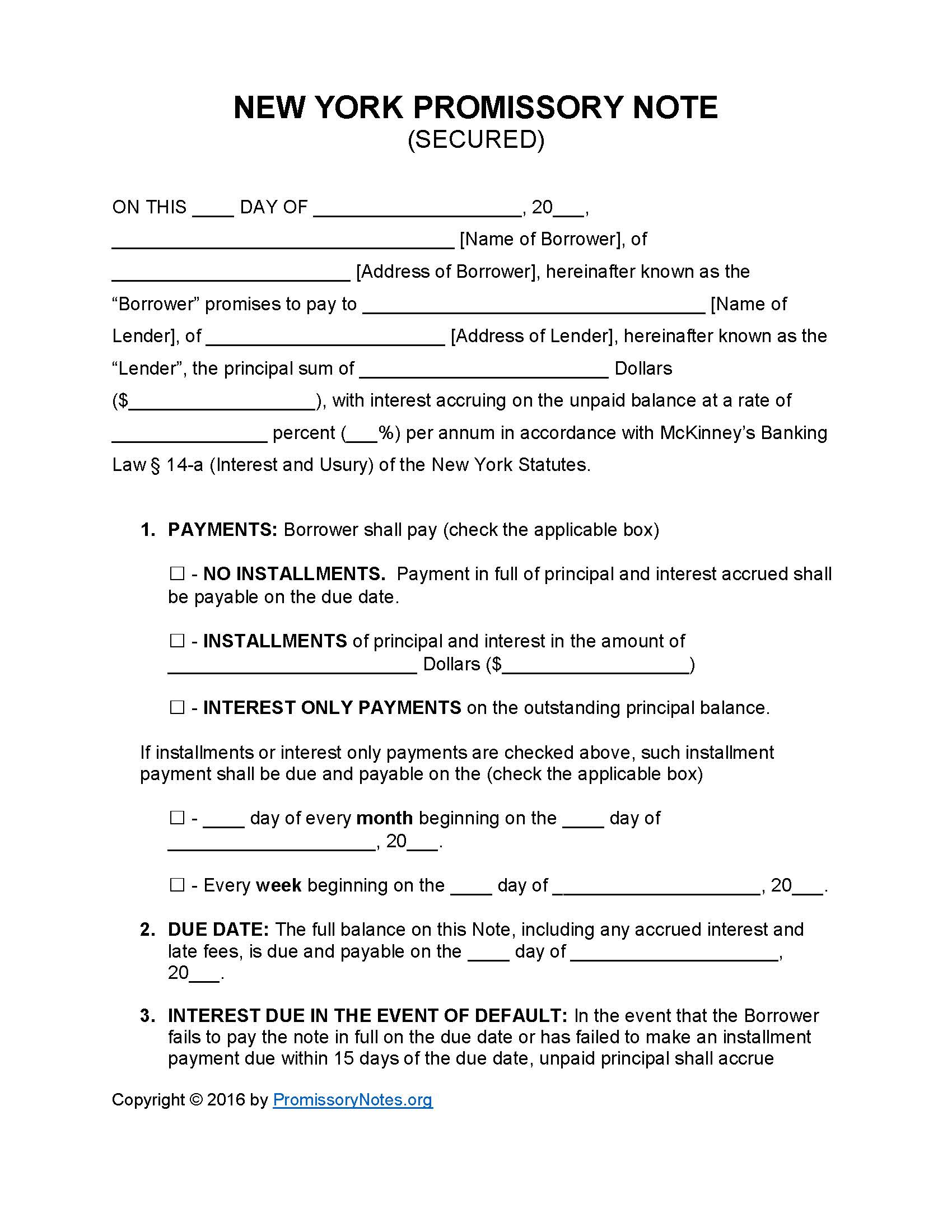 New York Secured Promissory Note Template Promissory