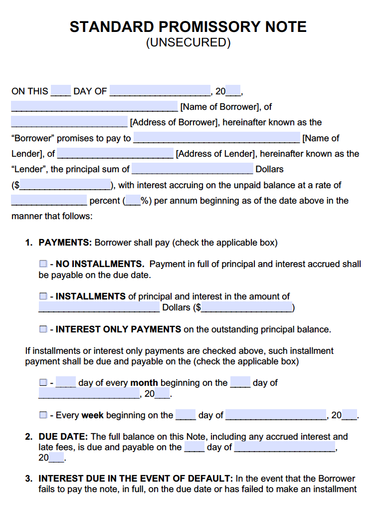 Unsecured Promissory Note - Adobe PDF - Microsoft Word